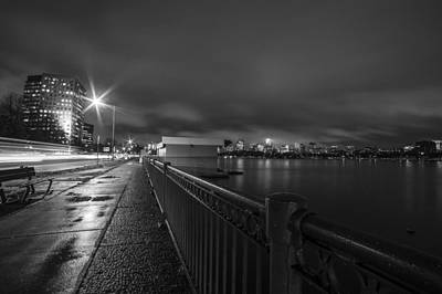 Memorial Drive Charles River Boston Ma Massachusetts Black And White Art Print by Toby McGuire