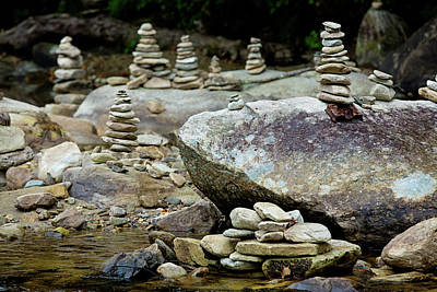 Photograph - Memorial Stacked Stones by Sue Collura