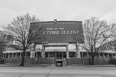 Photograph - Memorial Stadium University Of Illinois Black And White  by John McGraw