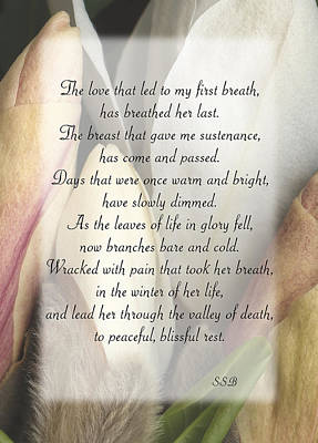 Poem Wall Art - Photograph - Memorial To Mom by Keith Berr