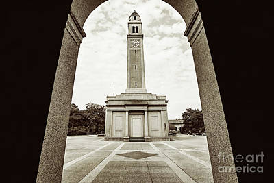Photograph - Memorial Tower Thru The Archway - Sepia by Scott Pellegrin