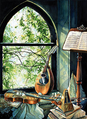 Window Sill Painting - Memories And Music by Hanne Lore Koehler