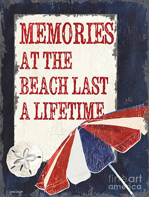Coastal Quote Wall Art - Painting - Memories At The Beach by Debbie DeWitt
