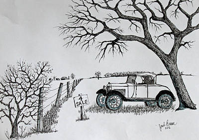 Ford Model T Car Drawing - Memories For Sale by Jack G Brauer