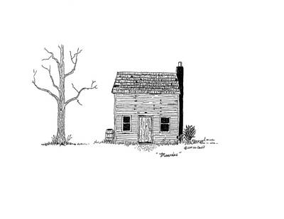 Abandoned Building Drawing - Memories by Jim Caudill