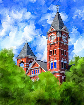 Art Print featuring the mixed media Memories Of Auburn - Samford Hall by Mark Tisdale
