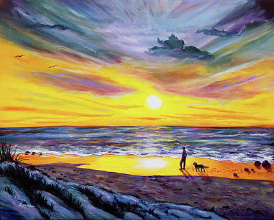 Dog Beach Painting - Memories Of My Father by Laura Iverson