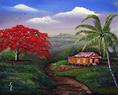 Flamboyan Tree Painting - Memories Of My Island by Luis F Rodriguez