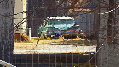 Memories Of Old Blue, A Car In Shantytown.  Art Print