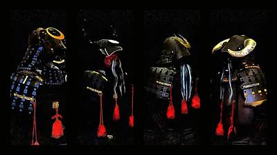 Memories Of Samurai Black Armour Collage Art Print by Dorothy Berry-Lound