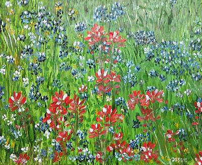 Painting - Memories Of Texas Everythings Better With Blue Bonnets On It by Debbie