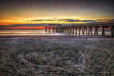 Memory In The Sand Tybee Island Pier Sunrise Art Art Print by Reid Callaway