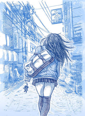 Shibuya Drawing - Memory Lane II by Tuan HollaBack