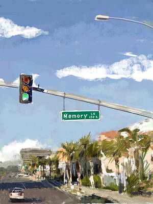 Traffic Light Mixed Media - Memory Lane by Russell Pierce