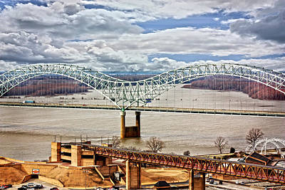 Memphis Bridge Hdr Art Print by Suzanne Barber
