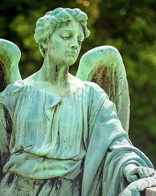 Grave Photograph - Memphis Elmwood Cemetery - Bronze Angel by Jon Woodhams