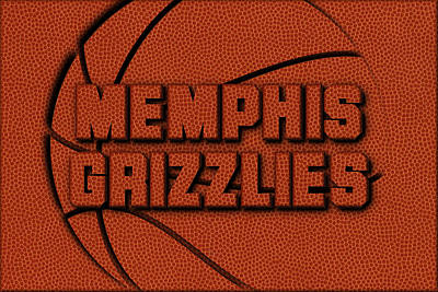 Memphis Grizzlies Leather Art Art Print by Joe Hamilton
