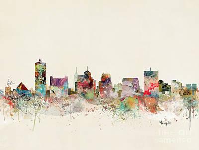 Painting - Memphis Skyline by Bleu Bri