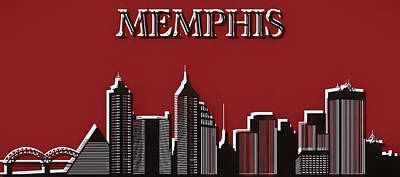 Elvis Presley Mixed Media - Memphis Skyline Pop Art by Dan Sproul