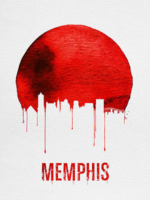 Tennessee Painting - Memphis Skyline Red by Naxart Studio