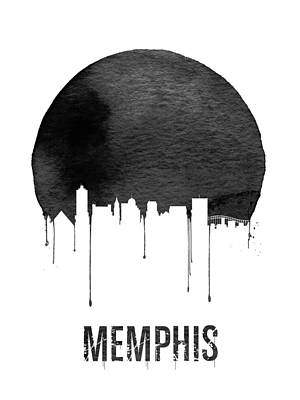 Memphis Skyline White Art Print