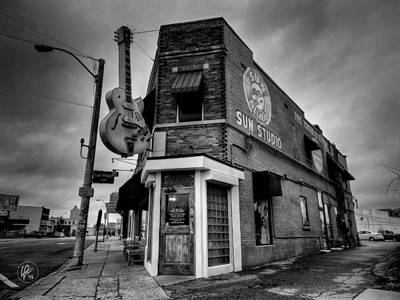 Photograph - Memphis - Sun Studio 004 Bw by Lance Vaughn
