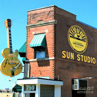 R And B Digital Art - Memphis Sun Studio Birthplace Of Rock And Roll 20160215 Square by Wingsdomain Art and Photography
