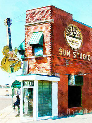 Vivid Digital Art - Memphis Sun Studio Birthplace Of Rock And Roll 20160215wcstyle by Wingsdomain Art and Photography