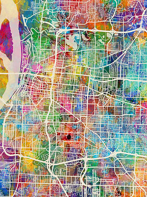 Digital Art - Memphis Tennessee City Map by Michael Tompsett