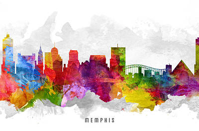 Memphis Tennessee Cityscape 13 Art Print by Aged Pixel