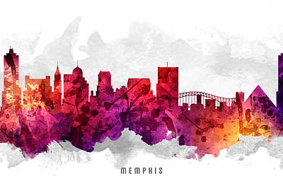 Towns Digital Art - Memphis Tennessee Cityscape 14 by Aged Pixel