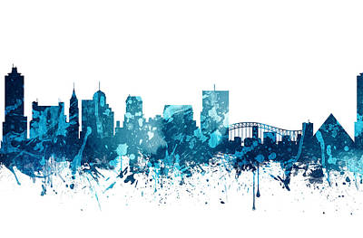 Tennessee Painting - Memphis Tennessee Skyline 19 by Aged Pixel