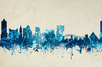 Towns Digital Art - Memphis Tennessee Skyline 20 by Aged Pixel