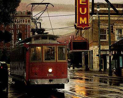 Memphis Tennissee Streetcar Art Print by Don Wolf