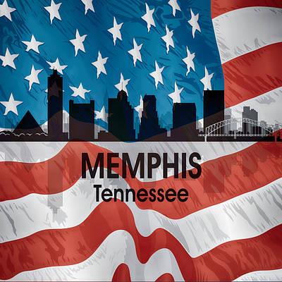 Memphis Tn American Flag Squared Art Print by Angelina Vick