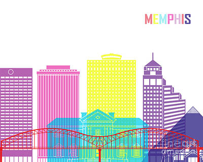 Memphis_v2 Skyline Pop Print by Pablo Romero