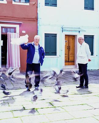Photograph - Men And Birds Burano Italy  by John McGraw
