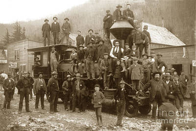 Photograph - Men And Boys Gathered On And Around A Train Steam Locomotive H.  by California Views Archives Mr Pat Hathaway Archives