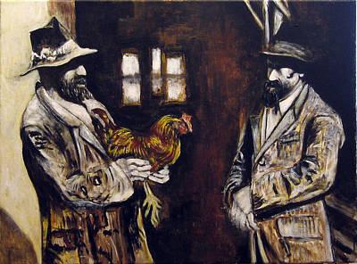 Men And Hen After A Photograph Shown On Pbs  Art Print by Vladimir Kezerashvili