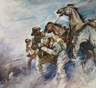 Harsh Conditions Painting - Men And Horses Battling A Storm by James Edwin McConnell
