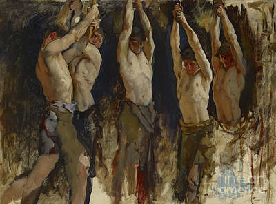 Strong America Painting - Men At An Anvil, Study For The Spirit Of Vulcan by Edwin Austin Abbey