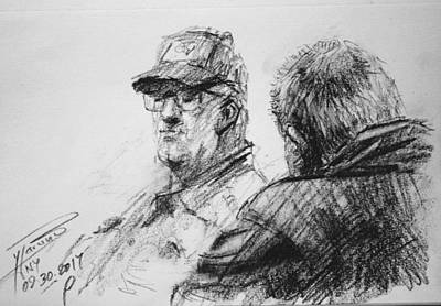 Cafes Drawing - Men At Tims Cafe by Ylli Haruni