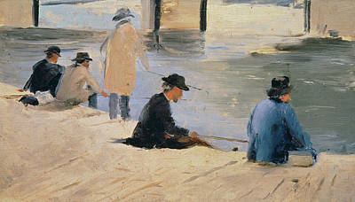 Neo-impressionism Painting - Men Fishing From A Jetty by Georges Pierre Seurat