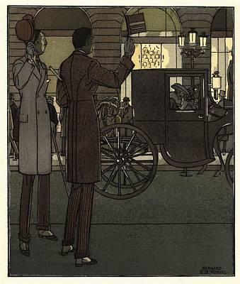 Men Gesturing To Carriage At Night Art Print