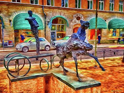 Stockholm Digital Art - Men Horse Carriage by Ramon Martinez