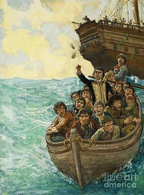 Water Vessels Painting - Men In A Boat by Kenneth John Petts