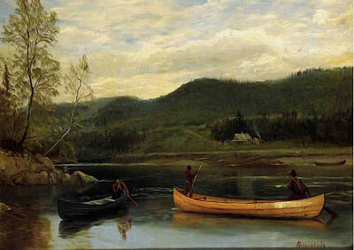 Canoe Digital Art - Men In Two Canoes by Albert Bierstadt