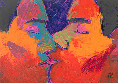 Painting - Men Kissing Colorful 2 by Shungaboy X