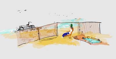 Digital Art - Men On Beach by Debbi Saccomanno Chan