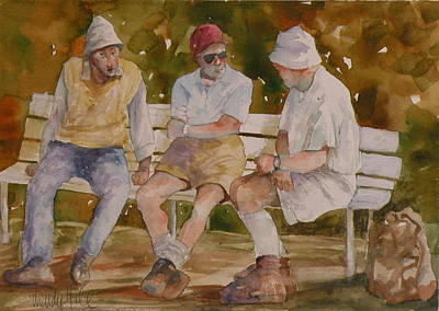 Men On Bench Original by Wendy Hill
